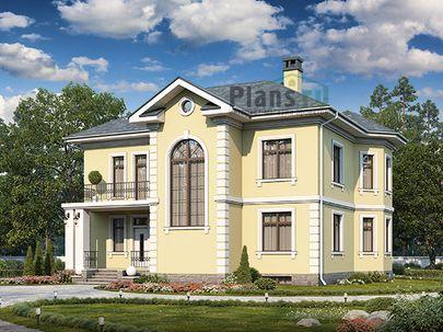 Проект двухэтажного дома с цоколем 13x11 метров, общей площадью 321 м2, из керамических блоков, c террасой, котельной и кухней-столовой