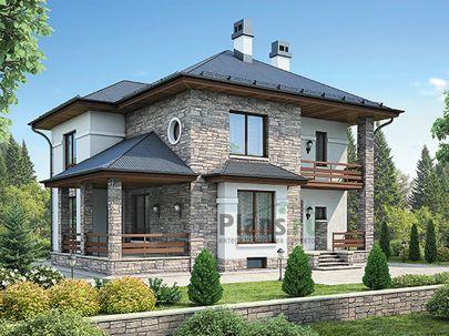 Проект двухэтажного дома с цоколем 13x12 метров, общей площадью 262 м2, из керамических блоков, c террасой, котельной и кухней-столовой