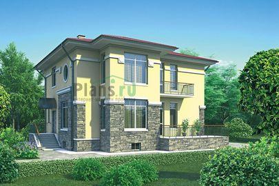 Проект двухэтажного дома с цоколем 13x12 метров, общей площадью 294 м2, из керамических блоков, c террасой, котельной и кухней-столовой