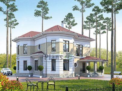 Проект двухэтажного дома с цоколем 13x13 метров, общей площадью 282 м2, из керамических блоков, c террасой, котельной и кухней-столовой