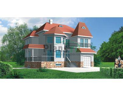 Проект двухэтажного дома с цоколем 13x13 метров, общей площадью 294 м2, из керамических блоков, c гаражом, террасой, котельной и кухней-столовой