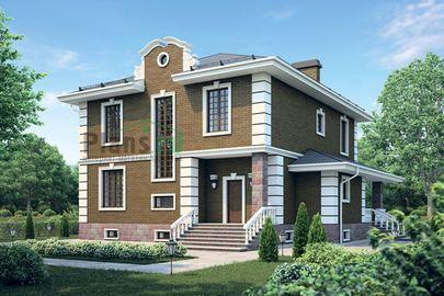 Проект двухэтажного дома с цоколем 13x13 метров, общей площадью 337 м2, из керамических блоков, c бассейном, террасой, котельной и кухней-столовой