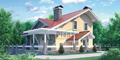 Проект двухэтажного дома с цоколем 13x14 метров, общей площадью 143 м2, из кирпича, со вторым светом, c зимним садом, котельной и кухней-столовой