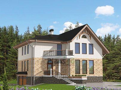 Проект двухэтажного дома с цоколем 13x14 метров, общей площадью 314 м2, из керамических блоков, c гаражом, террасой, котельной и кухней-столовой