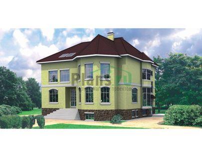 Проект двухэтажного дома с цоколем 13x14 метров, общей площадью 348 м2, из керамических блоков, c террасой и котельной
