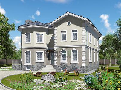 Проект двухэтажного дома с цоколем 13x14 метров, общей площадью 372 м2, из керамических блоков, c террасой, котельной и кухней-столовой