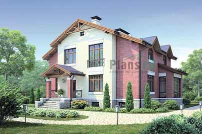 Проект двухэтажного дома с цоколем 13x15 метров, общей площадью 324 м2, из керамических блоков, c террасой, котельной и кухней-столовой