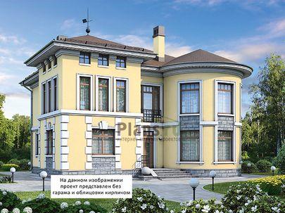 Проект двухэтажного дома с цоколем 13x16 метров, общей площадью 323 м2, из керамических блоков, c гаражом, террасой, котельной и кухней-столовой