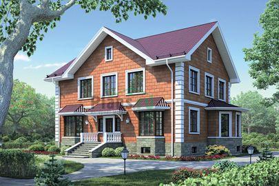 Проект двухэтажного дома с цоколем 14x10 метров, общей площадью 336 м2, из керамических блоков, c котельной и кухней-столовой