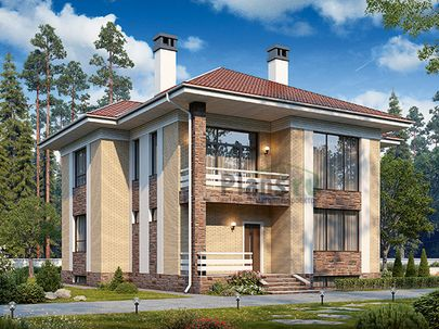 Проект двухэтажного дома с цоколем 14x12 метров, общей площадью 282 м2, из керамических блоков, со вторым светом, c террасой, котельной и кухней-столовой