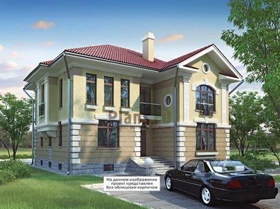Проект двухэтажного дома с цоколем 14x12 метров, общей площадью 309 м2, из керамических блоков, c котельной и кухней-столовой