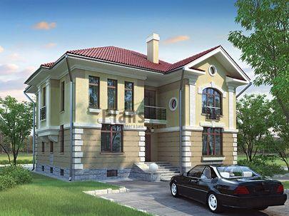 Проект двухэтажного дома с цоколем 14x12 метров, общей площадью 311 м2, из керамических блоков, c котельной, лоджией и кухней-столовой