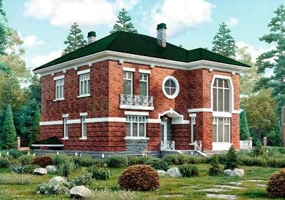 Проект двухэтажного дома с цоколем 14x12 метров, общей площадью 377 м2, из керамических блоков, со вторым светом, c террасой, котельной и кухней-столовой