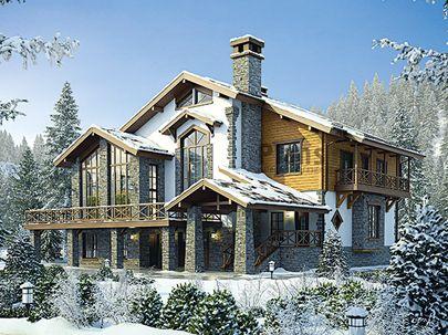 Проект двухэтажного дома с цоколем 14x14 метров, общей площадью 295 м2, из керамических блоков, c террасой, котельной и кухней-столовой