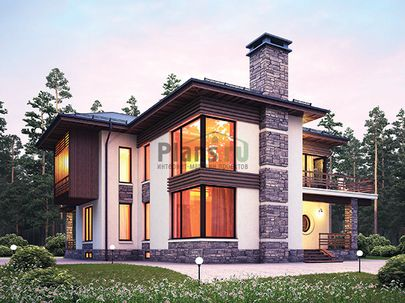 Проект двухэтажного дома с цоколем 14x15 метров, общей площадью 326 м2, из керамических блоков, со вторым светом, c террасой, котельной, лоджией и кухней-столовой
