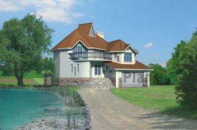 Проект двухэтажного дома с цоколем 14x19 метров, общей площадью 346 м2, из керамических блоков, со вторым светом, c гаражом, бассейном, зимним садом, террасой, котельной и кухней-столовой