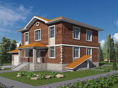 Проект двухэтажного дома с цоколем 15x10 метров, общей площадью 302 м2, из керамических блоков, c гаражом, террасой, котельной и кухней-столовой