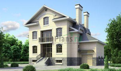 Проект двухэтажного дома с цоколем 15x12 метров, общей площадью 313 м2, из керамических блоков, c гаражом, бассейном и котельной