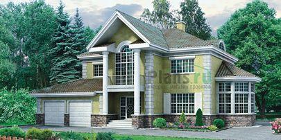 Проект двухэтажного дома с цоколем 15x12 метров, общей площадью 318 м2, из керамических блоков, c гаражом