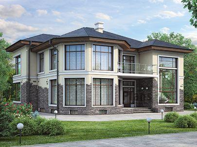 Проект двухэтажного дома с цоколем 15x13 метров, общей площадью 366 м2, из керамических блоков, со вторым светом, c бассейном, террасой, котельной и кухней-столовой