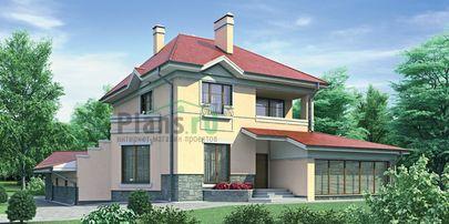 Проект двухэтажного дома с цоколем 15x14 метров, общей площадью 232 м2, из газобетона (пеноблоков), со вторым светом, c гаражом и зимним садом