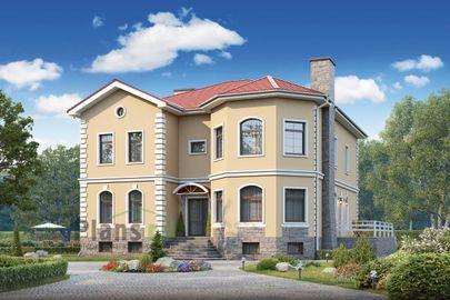 Проект двухэтажного дома с цоколем 15x14 метров, общей площадью 372 м2, из керамических блоков, c террасой и котельной