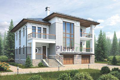 Проект двухэтажного дома с цоколем 15x15 метров, общей площадью 341 м2, из керамических блоков, со вторым светом, c гаражом, террасой, котельной и кухней-столовой
