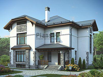 Проект двухэтажного дома с цоколем 15x15 метров, общей площадью 349 м2, из керамических блоков, c террасой, котельной и кухней-столовой
