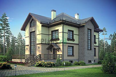 Проект двухэтажного дома с цоколем 15x15 метров, общей площадью 357 м2, из керамических блоков, со вторым светом, c террасой, котельной и кухней-столовой