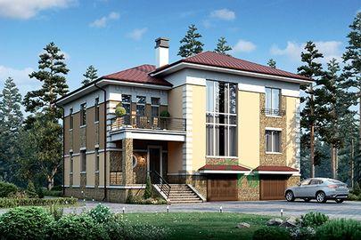 Проект двухэтажного дома с цоколем 15x15 метров, общей площадью 374 м2, из керамических блоков, со вторым светом, c гаражом, террасой, котельной и кухней-столовой
