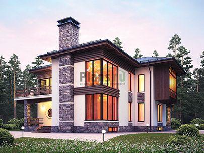 Проект двухэтажного дома с цоколем 15x17 метров, общей площадью 345 м2, из керамических блоков, c террасой, котельной, лоджией и кухней-столовой