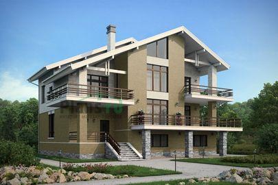 Проект двухэтажного дома с цоколем 15x17 метров, общей площадью 392 м2, из керамических блоков, c террасой, котельной и кухней-столовой