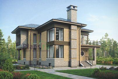 Проект двухэтажного дома с цоколем 15x18 метров, общей площадью 350 м2, из керамических блоков, со вторым светом, c террасой, котельной, лоджией и кухней-столовой