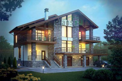 Проект двухэтажного дома с цоколем 15x18 метров, общей площадью 378 м2, из керамических блоков, c гаражом, террасой, котельной и кухней-столовой