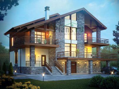 Проект двухэтажного дома с цоколем 15x18 метров, общей площадью 378 м2, из керамических блоков, со вторым светом, c гаражом, террасой, котельной и кухней-столовой