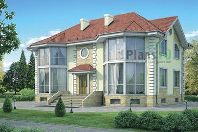 Проект двухэтажного дома с цоколем 16x12 метров, общей площадью 331 м2, из керамических блоков, c бассейном, котельной и кухней-столовой