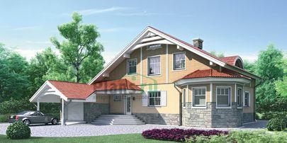 Проект двухэтажного дома с цоколем 16x13 метров, общей площадью 221 м2, из газобетона (пеноблоков), c гаражом, котельной и кухней-столовой