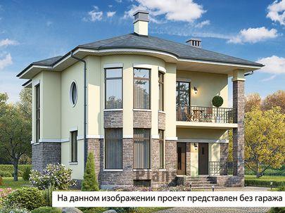 Проект двухэтажного дома с цоколем 16x13 метров, общей площадью 300 м2, из керамических блоков, c гаражом, террасой, котельной и кухней-столовой