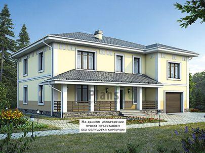 Проект двухэтажного дома с цоколем 16x13 метров, общей площадью 411 м2, из керамических блоков, c гаражом, террасой, котельной и кухней-столовой