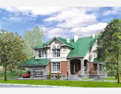Проект двухэтажного дома с цоколем 16x15 метров, общей площадью 382 м2, из керамических блоков, со вторым светом, c гаражом, террасой и котельной