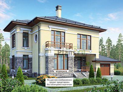 Проект двухэтажного дома с цоколем 16x17 метров, общей площадью 342 м2, из керамических блоков, c гаражом, террасой, котельной и кухней-столовой