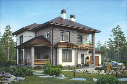 Проект двухэтажного дома с цоколем 17x12 метров, общей площадью 291 м2, из кирпича, c гаражом, террасой, котельной и кухней-столовой