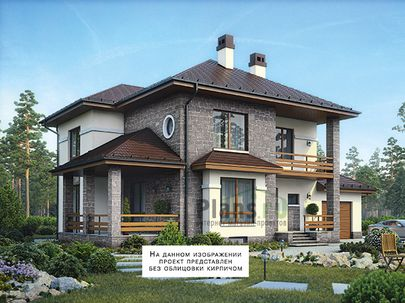 Проект двухэтажного дома с цоколем 17x12 метров, общей площадью 293 м2, из керамических блоков, c гаражом, террасой, котельной и кухней-столовой