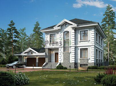 Проект двухэтажного дома с цоколем 17x12 метров, общей площадью 340 м2, из керамических блоков, c гаражом, террасой, котельной и кухней-столовой