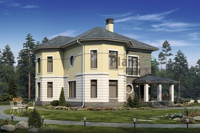 Проект двухэтажного дома с цоколем 17x13 метров, общей площадью 331 м2, из керамических блоков, c террасой, котельной и кухней-столовой