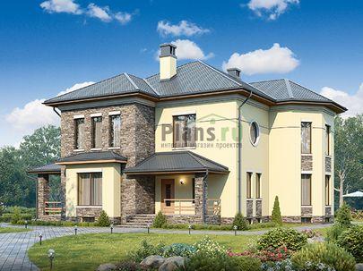 Проект двухэтажного дома с цоколем 17x13 метров, общей площадью 353 м2, из керамических блоков, c террасой, котельной и кухней-столовой