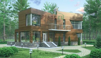 Проект двухэтажного дома с цоколем 18x11 метров, общей площадью 151 м2, из газобетона (пеноблоков), c террасой, котельной и кухней-столовой