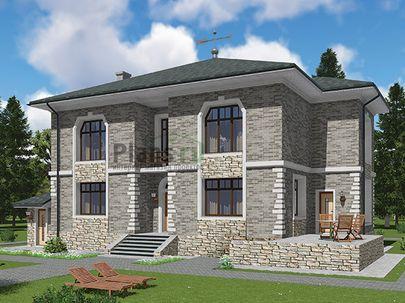 Проект двухэтажного дома с цоколем 18x13 метров, общей площадью 306 м2, из керамических блоков, c террасой, котельной, лоджией и кухней-столовой