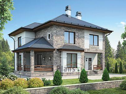Проект двухэтажного дома с цоколем 19x12 метров, общей площадью 236 м2, из керамических блоков, со вторым светом, c террасой, котельной и кухней-столовой