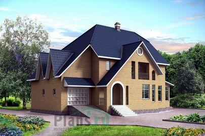 Проект двухэтажного дома с цоколем 19x13 метров, общей площадью 370 м2, из керамических блоков, c гаражом и кухней-столовой